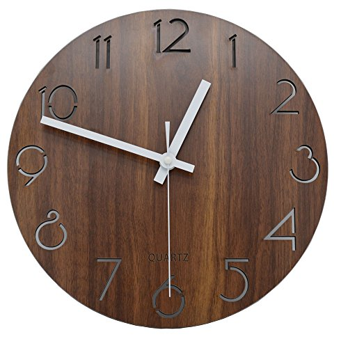 Jomparis 12″ Vintage Arabic Numeral Design Rustic Country Tuscan Style Wooden Decorative Round Wall Clock