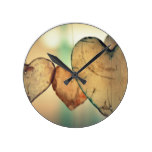 Rustic Wooden Heart Shape Rounds Valentines Day Round Clock