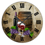 Wine Barrel and Glasses Large Clock