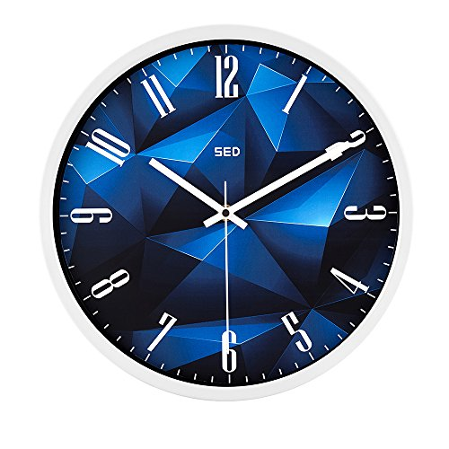 12 Inch Large Decorative Silent Wall Clock with Stoving Varnish Finished Metal Frame / Universal Non Ticking Modern Stylish Classic Quartz Round Clock And Battery Operated(BlueCrystal, White)