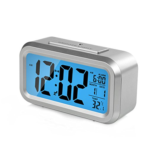 HeQiao Alarm Clocks Smart Large LCD Electronic Alarm Clocks Travel Alarm Clock Battery Operated with Calendar Temperature Snooze for Home Office (Silver & Blue)
