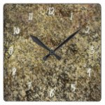 Dark Gold Glitter Crackle Modern Chic Glam Sparkle Square Wall Clock