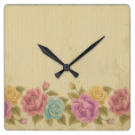 Good old days pattern, shabby chic, country chic, square wall clock