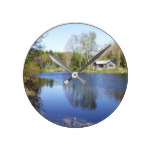 Rustic Cottage on Water Round Clock