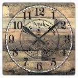 Rustic Distressed Wood Effect Family Square Wall Clock