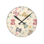 Teddy Bear Country Rustic Baby Infant Gift Round Clock