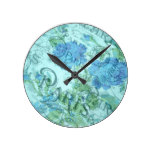 Vintage Blue Floral French Paris Postmark Pattern Round Clock