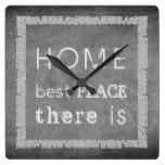 Vintage rustic gray chalkboard Home best place Square Wall Clock