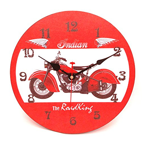 Wood Wall Clock, Vievogue Vintage Rustic Colorful Retro Style Design Non -Ticking Silent Quiet Wooden Clock Gift Home Large Decorative for House Living Room Kitchen Art Decor (Motorcycle, 12 inch)