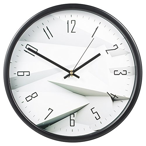 Wall Clock, SkyNature 12 inch Numerical Metal Modern Decorative Silent Quartz Wall Clock (3D White)