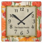 Beautiful Red Orange Yellow Floral Wood Square Wall Clock