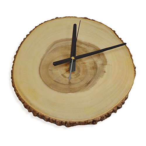 RoRo Rustic Wood Live-Edge Wall Clock with bark, 12 inch