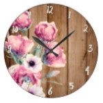 Country Flowers Rustic Barn Wood Large Clock