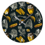 Dark Honey Bee Beehive Yellow Vintage Natural Large Clock