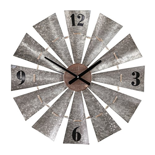 Southern Enterprises Brevan Oversized Decorative Windmill Wall Clock, Aged Galvanized Metal/Natural Wood