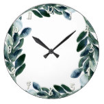 Green Watercolor Greenery Leaves Botanical Rustic Large Clock