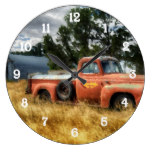 Route 66 Vintage Pick Up Truck Watercolor Large Clock