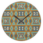 Teal Turquoise Orange Brown Eclectic Ethnic Look Large Clock