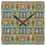 Teal Turquoise Orange Brown Eclectic Ethnic Look Square Wall Clock