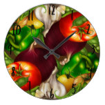 Vegetables and Herbs Organic Natural Fresh Food Large Clock