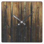 Wooden Fence Square Wall Clock