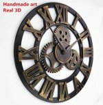Handmade Oversized 3D retro rustic decorative luxury art big gear wooden vintage large wall clock on the wall for gift