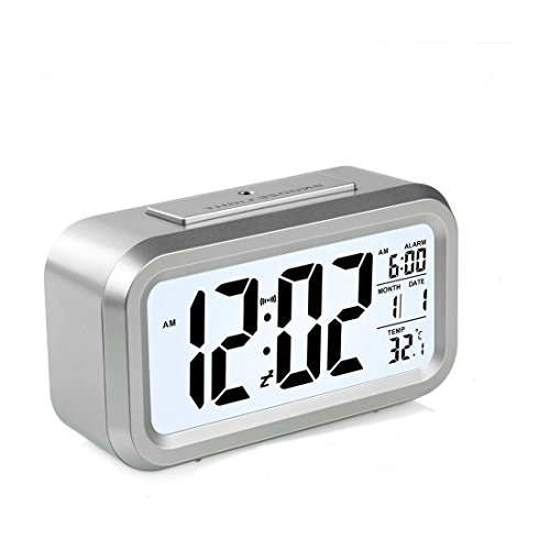 HeQiao LED Clock Slim Digital Alarm Clock Large Display Travel Alarm Clock with Calendar Battery Operated for Home Office (Temperature Display, Snooze Function) (Silver)
