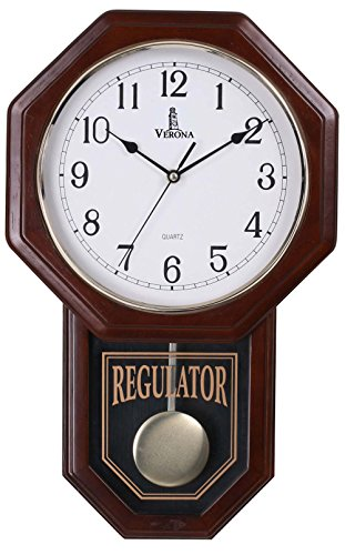 Verona Traditional Wood Pendulum Wall Clock with Glass Front – Elegant & decorative clock with dark brown finish – 18 x 11.25 x 2.75 inch – Quartz movement, battery operated & non-chiming