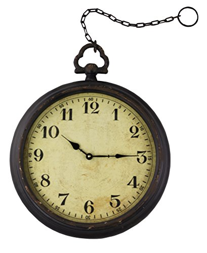 Vintage Pocket Watch Inspired Non-Ticking Wall Clock With Chain, Round