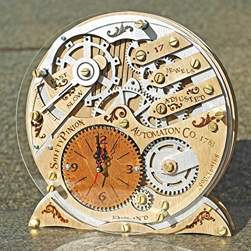 Automaton 1783 wooden decorative table clock, unique clock, personalized gifts, anniversary gift, mantle clock, home decor, desk clock