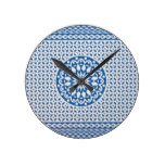 Blue White Retro Playing Card Floral Pattern Round Clock