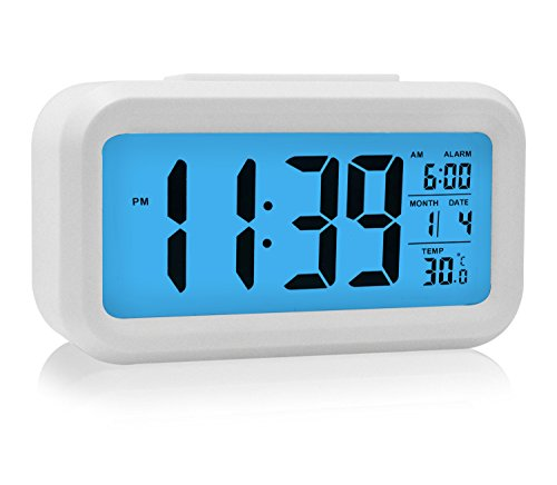 Alarm Clock with Calendar, HeQiao Smart Large LCD Snooze Digital Alarm Clock Battery Operated W/ Temperature for Home Office (White & Blue Light)