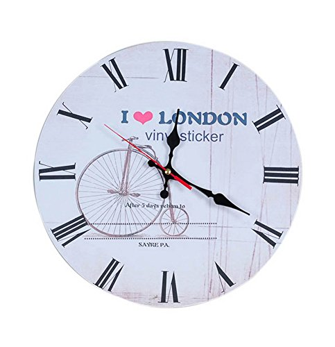 European Home Non Ticking Vintage Rustic Decorative Wood Wall Clock White London