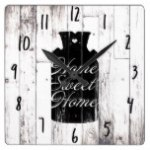Farmhouse White Wood Rustic Milk Jug Home Sweet Square Wall Clock