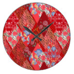 Red , rustic , patchwork large clock