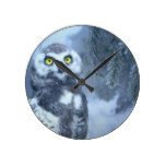 Snow Owl in Forest Round Clock