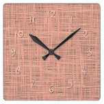 Spring Coral Red Faux Jute Fabric Weave Pattern Square Wall Clock