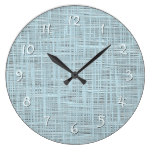 Spring Pastel Blue Faux Jute Fabric Weave Pattern Large Clock