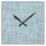 Spring Pastel Blue Faux Jute Fabric Weave Pattern Square Wall Clock