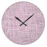 Spring Pastel Pink Faux Jute Fabric Weave Pattern Large Clock