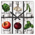 Vegetables & Herbs Rustic Modern Kitchen Food Art Square Wall Clock