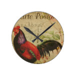 Vintage French Postcard Rooster Round Clock