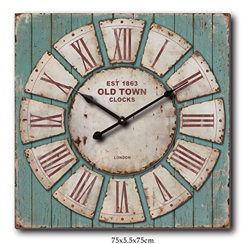 Nora Lane, llc Oversized Square Rustic Decorative Wall Clock