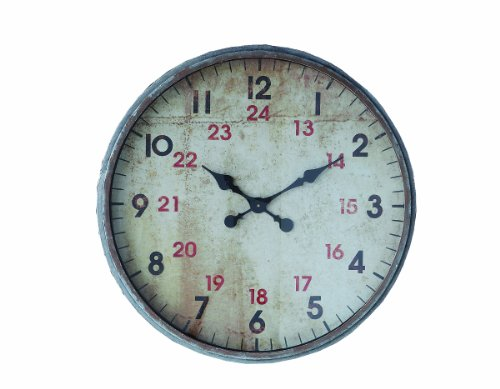 Creative Co-op Round Metal Wall Clock, 27-Inch, Red