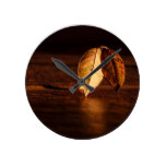 Autumn Leaf Dawn Abstract Round Clock