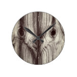 Funny Wood Grain Pattern Round Clock