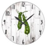 Green Peas Pea White Wood Rustic Farmhouse Kitchen Large Clock