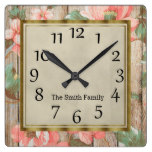 Personalized Pink Flowers Green Leaves Rustic Wood Square Wall Clock