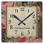 Personalized Pink Roses Green Leaves Rustic Wood Square Wall Clock