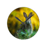 Rabbit Bunny Wildlife Forest Round Clock
